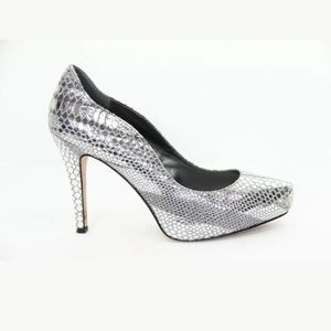 "WHBM 4"" Silver Grey Leather Snake Skin Rece Heels"